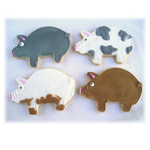 pig cookies Los Angeles, farm animal cookies, pink pig cookies