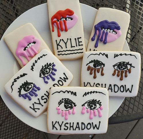 Kyshadow cookies, make up cookies, custom party cookies, custom cookies Los Angeles