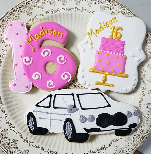 Custom sweet 16 cookies, car cookies, Number 16 cookies, cake cookies, Cake cookies Los Angeles