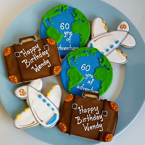 Globe cookies, earth cookies, airplane cookies, suitcase cookies, travel cookies
