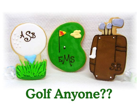 Golf cookies, golf ball cookies, golf bag cookies, golf course cookies, golf party favor cookies