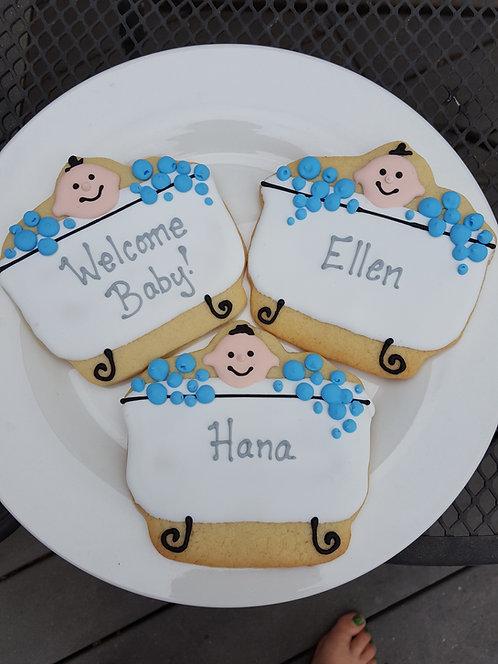 Bathtub cookies, baby shower cookies, baby cookies, baby shower party favor cookies