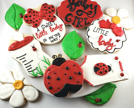 Lady Bug baby shower cookies, lady bug themed baby shower, hand decorated lady bug cookies, baby shower cookies LA