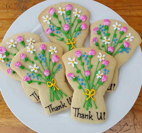 flower bouquet cookies, personalized flower cookies, pretty flower cookies Los Angeles