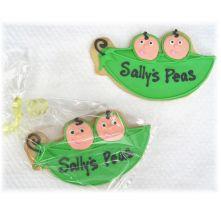 Peas in a pod cookies Los Angeles, peas in a pod, baby shower cookies, twin baby shower cookies, twin cookies