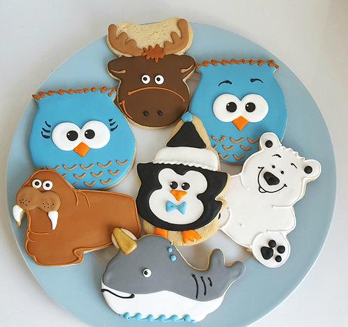 moose cookies, owl cookies, penguin cookies, narwal cookies, walrus cookies, polar bear cookies, winter animal cookies