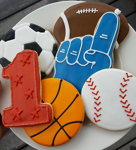 baseball cookies, basketball cookies, football cookies, soccer ball cookies, foam finger cookies, number one cookies