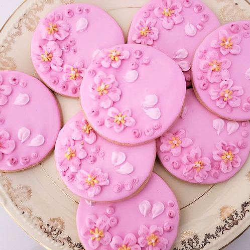 Cherry blossom cookies Los Angeles, Pink flower cookies, Blossom cookies, blossom cookies Los Angeles