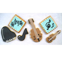 Musical piano, cello, violin cookies   Sunflower Baking