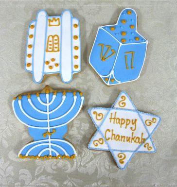 Hanukkah cookies, Hanukkah cookie Los Angeles, Dreidel cookies, Menorah cookies, Star of David cookies, Torah cookies