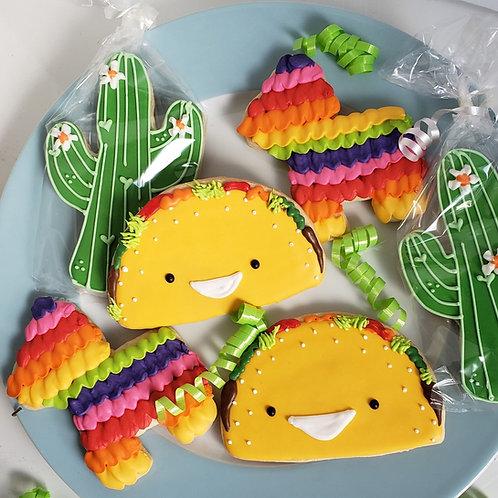 Fiesta party cookies, Taco cookies, cactus cookies, pinata cookies, Mexican party cookies, Mexican baby shower cookies