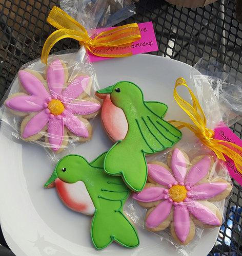 Humming bird cookies, Flower sugar cookies, bird cookies, hand decorated cookies Los Angeles