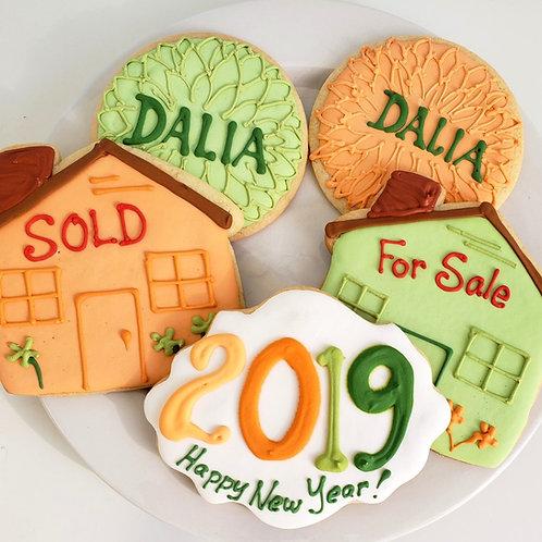 custom Realtor cookies, Happy New Year cookies, House cookies, Dahlia cookies