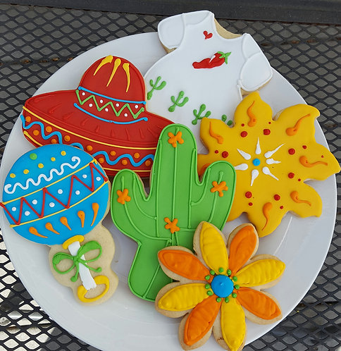 Fiesta party cookies, Mexican baby shower cookies, Mexican party cookies