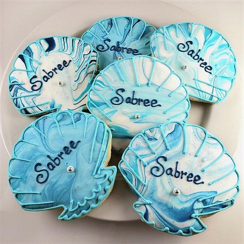 Tye Dyed cookies, sea shell cookies, custom wedding favor cookies, shell cookies Los Angeles, beach themed cookies