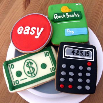Calculator cookie, Money cookies, Dollar bill cookie, Quick Books cookie, Easy button cookie, accounting cookies