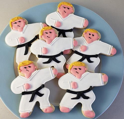 Black belt cookies, custom karate cookies, birthday cookies, figure cookies