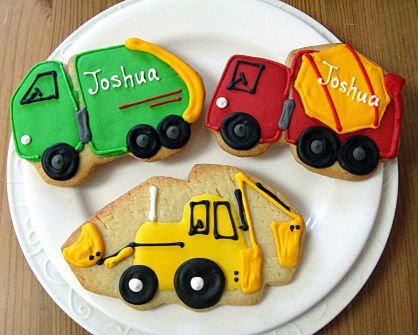 Truck cookies, garbage truck cookies, cement truck cookies, back hoe cookies, truck birthday party cookies