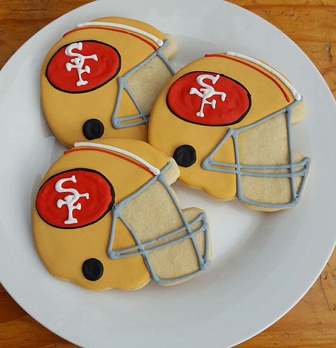 Helmet cookies, football team helmets, football cookies, football party favor cookies