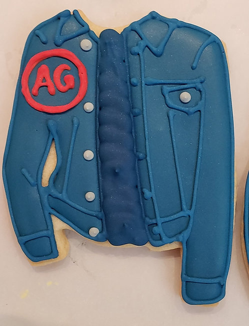jeans jacket cookie, jeans jacket Los Angeles, AG, AG jackets, hand decorated jeans cookies
