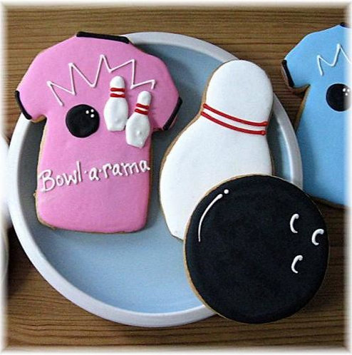 Bowling shirt cookie, bowling ball cookie, bowling pin cookie, bowling party cookies