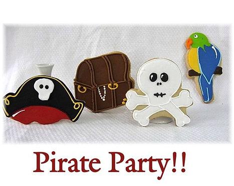 Pirate cookies, treasure chest cookies, skull and cross bone cookies, parrot cookies, pirate party cookies Los Angeles