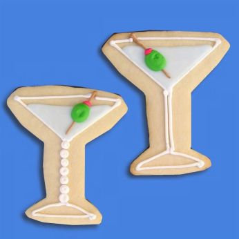 Martini glass cookie, martini cookie, martini with olive cookie