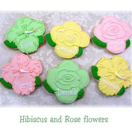Hibiscus flower cookies, rose cookies, wedding shower cookies, flower cookies Los Angeles, roses