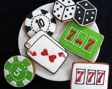 poker chip cookies, slot machine cookies, playing card cookies, vegas cookies, vegas wedding cookies, dice cookies