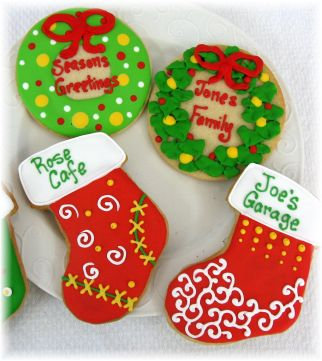 Christmas stocking cookies, Wreath cookies for Christmas, Christmas cookies, Xmas cookies Los Angeles