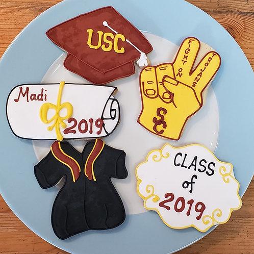 USC cookies, graduation cap cookies, graduation cookies Los Angeles, foam finger cookies