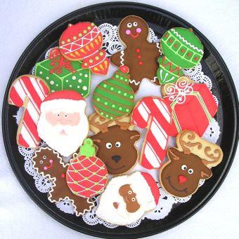 santa cookies, rudolph cookies, candy cane cookies, present cookies, ornament cookies, gingerbread men cookies
