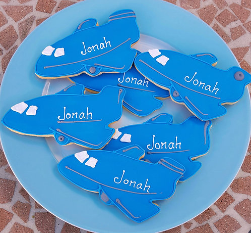 plane cookies, jet cookies, travel cookies, custom airplane cookies, airplane cookies Los Angeles