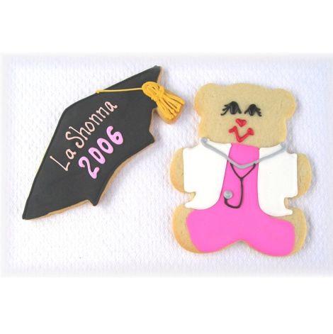 Nurse graduation cookies, teddy bear cookies, nurse teddy bear cookies Los Angeles, graduation cap cookies