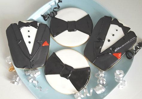 Tuxedo cookies, bowtie cookies, bow tie cookies, mens suit cookies, groom's cookies