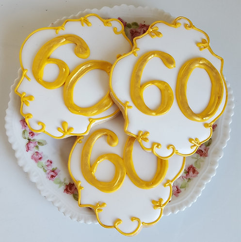 60th Anniversary cookies Los Angeles, Anniversary cookies, adult party favor cookies