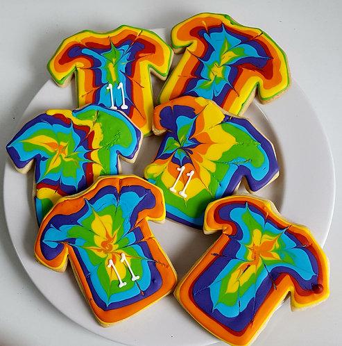 Tiedye t-shirt cookies, ty dye cookies, tie dye t-shirts, tie dye clothing