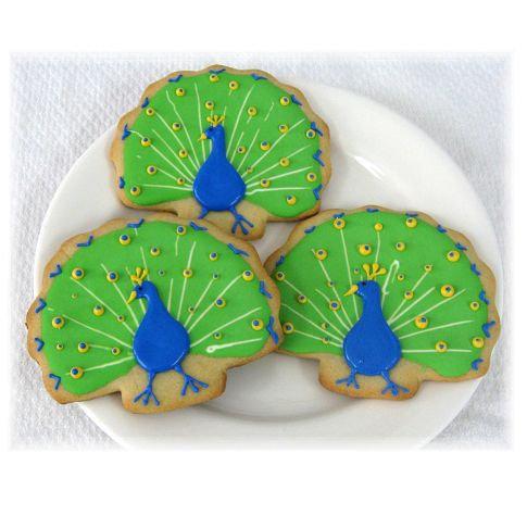 Peacock cookies, peacock wedding favors, peacock wedding cookies