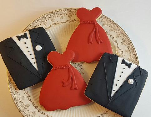 Tuxedo cookie, gown cookies, red carpet cookies