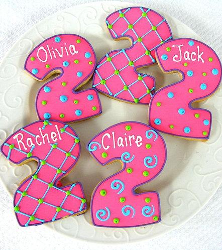 Number cookies, Number 2 cookies, Number Two cookies, kids birthday cookies, Number cookies