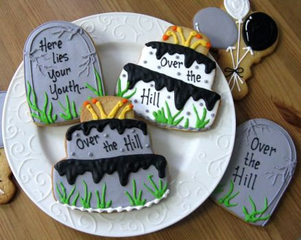 Tombstone cookies, Over the Hill cakes, Balloon cookies