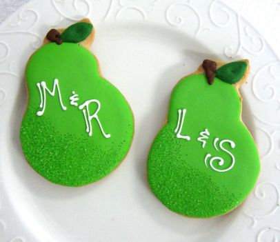 Perfect pair cookies, Wedding cookies, bridal shower cookies, pear cookies, monogrammed cookies for weddings