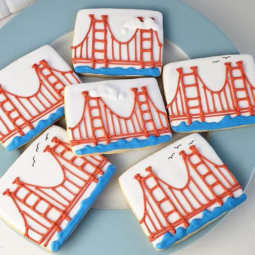 San Francisco cookies, Golden Gate cookies, bridge cookies, San Francisco