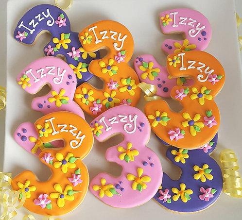 Number three cookie, number cookies, personalized number cookies, number cookies Los Angeles