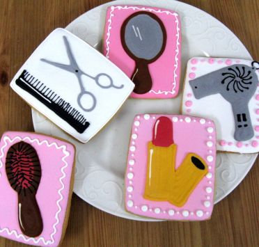 Spa day cookies, lipstick cookies, hair dresser collection