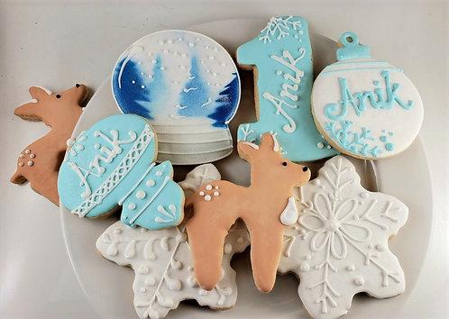 snowglobe cookies, snowflake cookies, reindeer cookies, ornament cookies, hand decorated cookies LA, decorated cookies LA
