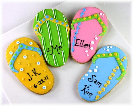 flip flop cookies, flip flop cookies Los Angeles, beach cookies, summer time cookies, summer themed cookies
