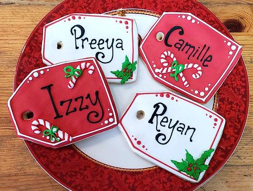 Custom Christmas cookies, Christmas cookies Los Angeles, Gift tag custom cookies