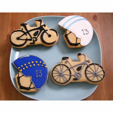 bicycle cookies, bicycle helmet cookies, sugar cookies, bike cookies, helmet cookies