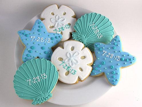 sea shell cookies, star fish cookies, sand dollar cookies, beach cookies, shell cookies, starfish cookies